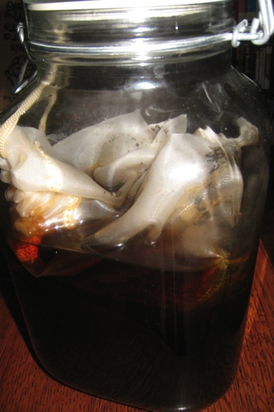 Cold brewed coffee with nut milk bag in Fido jar